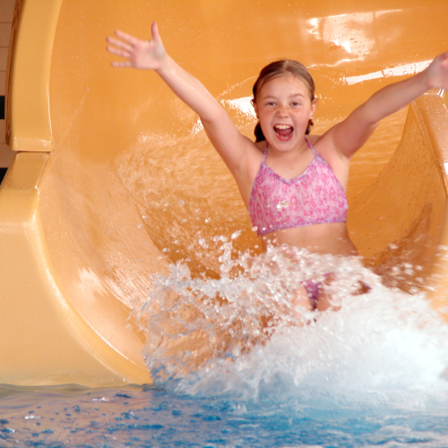 Young Girl on Hotel Waterslide